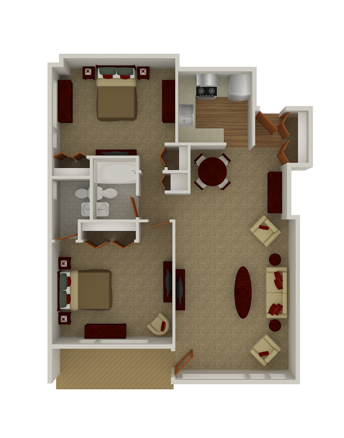 Two Bedroom, 1.5 Bath